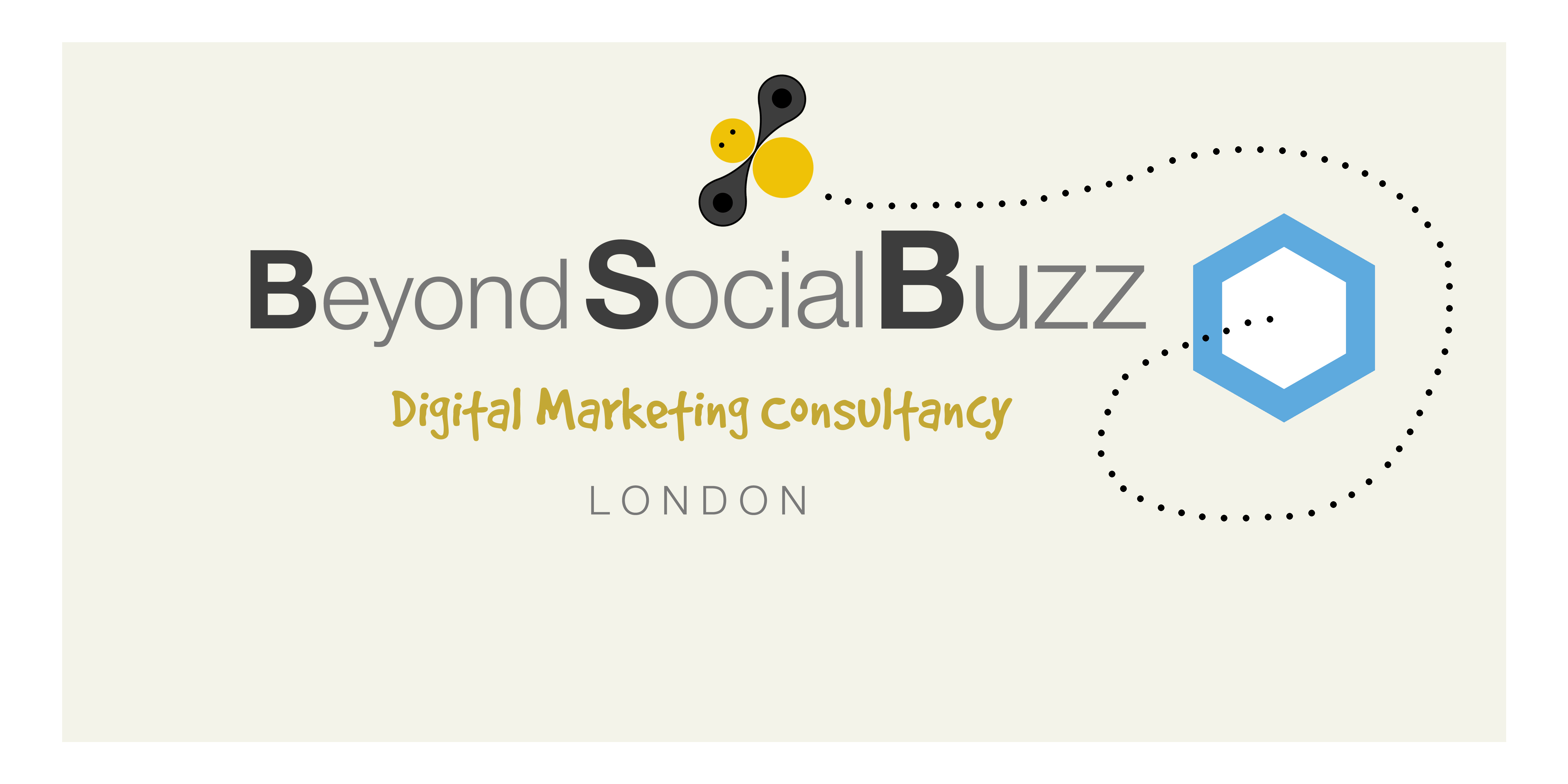 Logo for beyond social buzz. incorporates a hand drawn bee with black and yellow colours. the words are pale grey with bold for the first letter