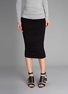 midi ruched maternity skirt
