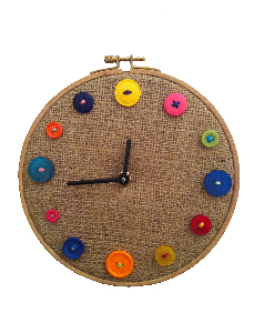 clock made from hessian and buttons