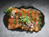 Salmon gravlax with spring onion