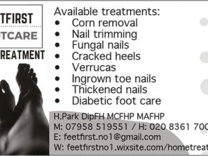 A static advert showing details of footcare treatments including corn removeak, nail trimming, fungal nails, cracked heels, verrucass, ingrown toenails, thickened nails and diabetic footcare. The treeatments are offered by Feet First Footcare
