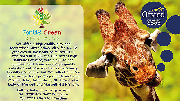 Giraffe in background with information about a local after school club imposed onto it