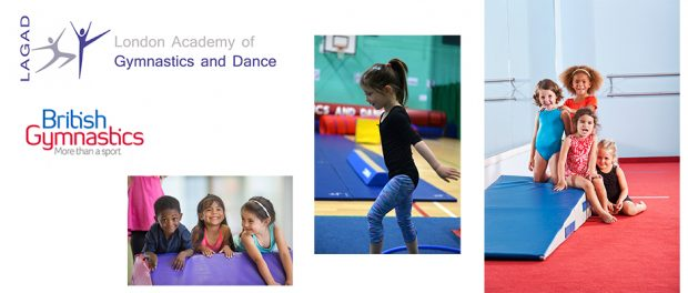 Assortment of images of children practising gymnastics