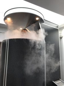 person in a sauna undertaking Whole Body Cryotherapy
