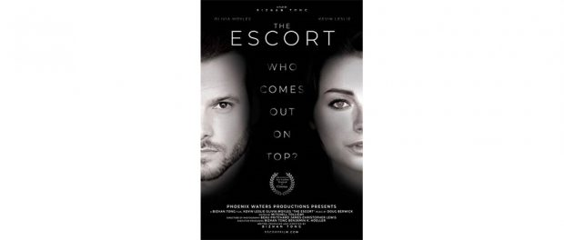 black and white poster for the newly released The Escort film