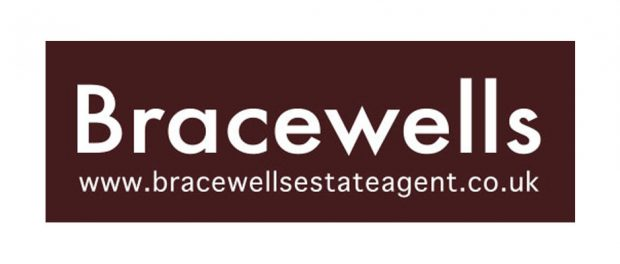 Bracewells Estate Agents brown and white logo