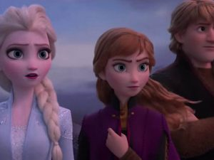 Fictional characters Elsa, Anna and Christoff