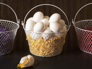 eggs in 1 basket, other baskets empty