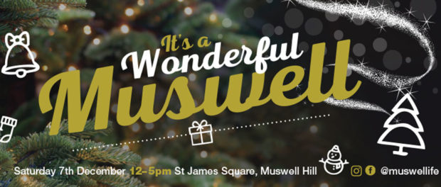 Christmas tree with Wonderful Muswell superimposed over it - Advert
