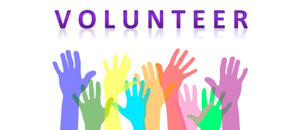 Volunteer poster with Rainbow coloured hands reaching into the air