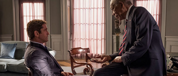 2 actors in a scene from film Angel has Fallen
