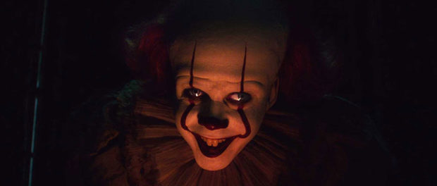 Softly lit scary clown face from Movie IT: Chapter 2