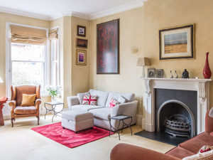 Lounge with fireplace, large windows and furniture - for Sale