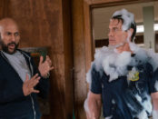 Picture of two men one covered in foam