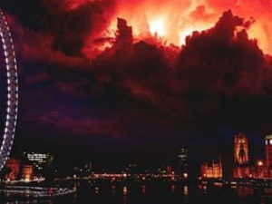 "The ""darkness"" from Stranger Things hovering over Londons Skyline"
